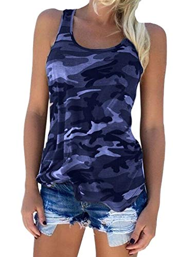 Zcavy Women's Sleeveless Camouflage Tee Shirts Gym Exercise Racerback Tops Summer Workout Yoga Clothes Moisture Wicking Cute Training Tanks Tops Cotton T Shirts Navy M