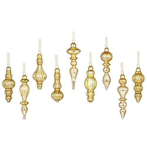 GLASSBALL Gold Christmas Mercury Glass Drop Finial Ornament (9 Ornaments) (Mercury Ornament)