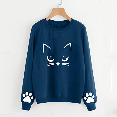 Chat Shirt Aimee7 Pas Bleu Longues Hiver Automne Femme Vetement Cher Blouse T Manches pfHXqC