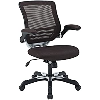 Modway Edge Mesh Back and Brown Mesh Seat Office Chair With Flip-Up Arms - Ergonomic Desk And Computer Chair