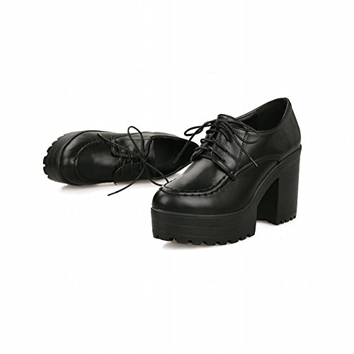 Carol Shoes Casual Da Donna Lace-up Retro Comfort Platform Alte Scarpe Grosso Oxford Tacco Nero