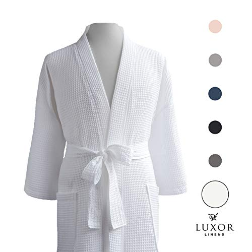 Luxor Linens Couple's Waffle Robes - Giovanni Collection (1 Robe - No Monogram, White)