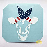 Cow with USA Flag Bandana Vinyl Decal | Heifer Sticker for Yeti Tumbler, RTIC Cup, Water Bottle, Laptop, Car Window | Red, White, and Blue - 3.5 inches