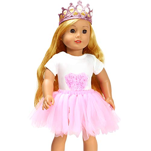 ANNTOY 18 inch Doll Clothes 3 Pcs Headband Bodysuit Tutu Skirt 18-inch Doll Accessories for American Girl Doll Our Generation Dolls Journey Girl Dolls (E)