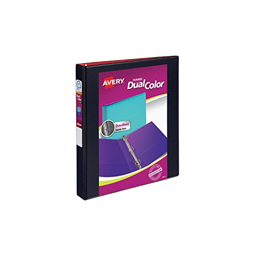 "Avery Dual Color Durable View Binder, 1"" Slant Rings, 250-Sheet Capacity, Black/Red (17216)"
