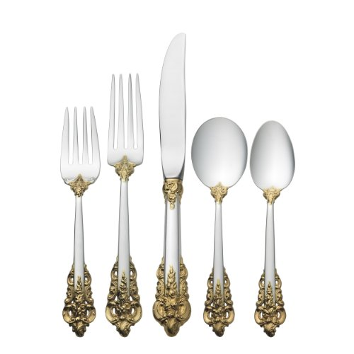Wallace Grande Baroque Gold Accent 66-Piece Place Set with Cream Soup Spoon ()