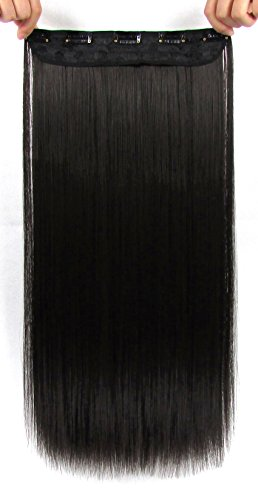 Beaute Galleria 22 Inches Straight Half Head Clip In Synthetic Hair Extensions Cosplay Hairpiece for Women (Natural Black)