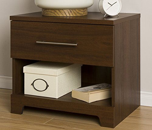 South Shore Primo 1-Drawer Nightstand, Brown Walnut