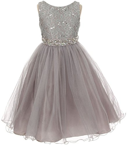 Embroidered Fully Lined Skirt - Big Girls Sleeveless Sequins Rhinestones Tulle Pageant Flower Girl Dress Silver 8 (M3B4K0)