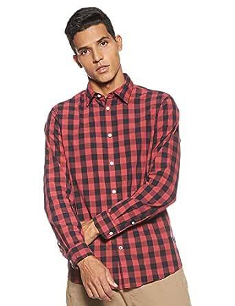 JACK & JONES Erkek Günlük Gömlek Jjegingham Shirt L/S Noos, Kırmızı, 36 (Üretici ölçüsü: XS)
