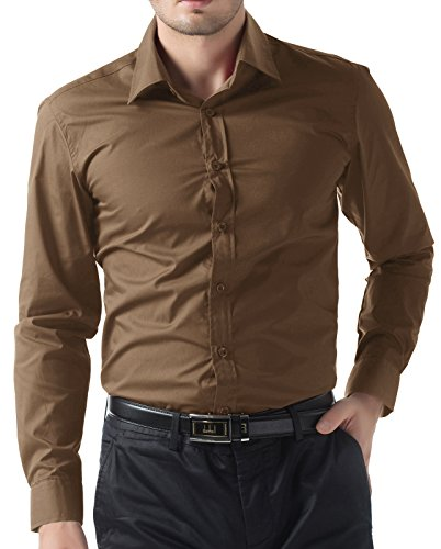 Paul Jones Mens Shirts Men's Slim Fit Basic Designer Shirts (XL, Coffee 52)