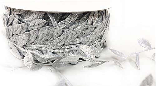 Silver Leaf Trim - Leaf Garland Ribbon Trims, roll of 30 Yards, Great for Craft Making and Scrap Booking (Metallic Silver)