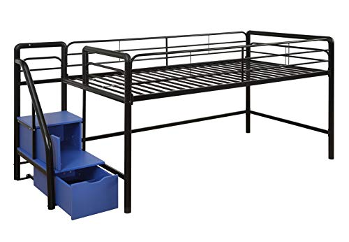 DHP Junior Twin Metal Loft Bed with Storage Steps, Space-Saving Solution, Multifunctional, Black with Blue Steps 3