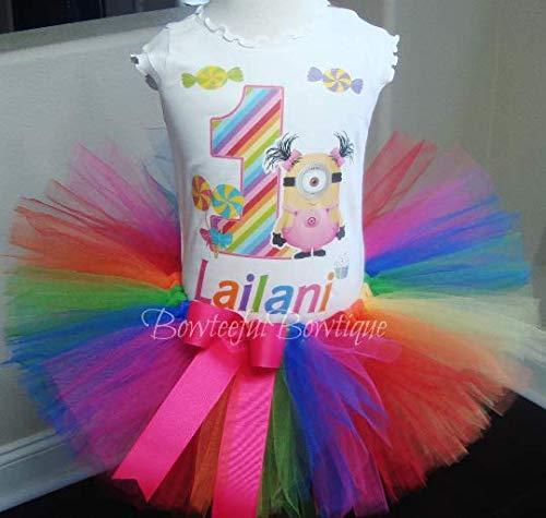 Minions Tutu Set, Rainbow Minion Birthday Outfit,Candyland Tutu Set]()