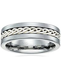 Men's Sterling Silver and Tungsten Wheat Inlay Ring