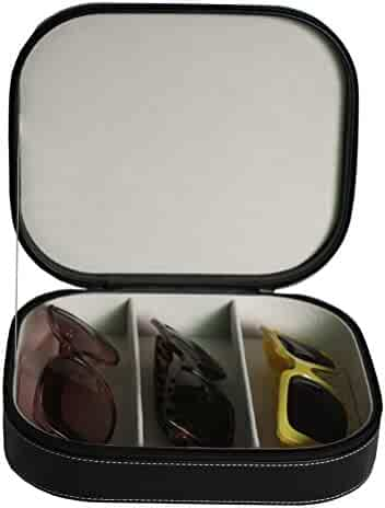 3 Piece Extra Large Travel Eyeglass Sunglass Glasses Zippered Case Storage Organizer Collector Box