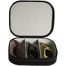 3 Piece Extra Large Travel Eyeglass Sunglass Glasses Watch Zippered Case Storage Organizer Collector Box
