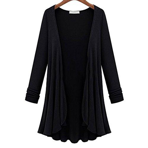 Ropa para Mujer túnica Abrigo mujer de de Chaquetas larga abrigo moda de Negro Blusa de de de cardigan de Cinnamou manga Owqp1O