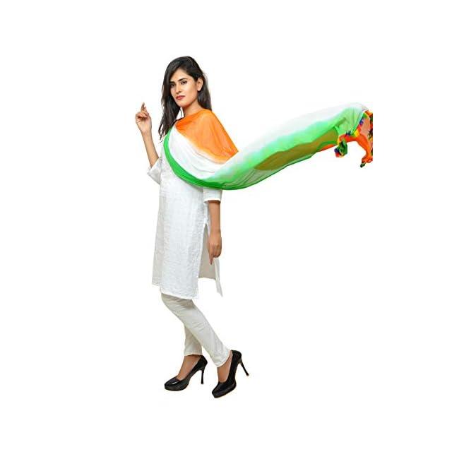 Banjara India Women's Soft Chiffon Solid Tricolor Dupatta – Super Tiranga