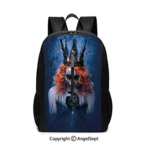 Backpack for Man Fit College,Queen,Queen of Death Scary Body Art Halloween Evil Face Bizarre Make Up Zombie,Navy Blue Orange Black12x17x6.5inches,Travel Computer Bag Durable