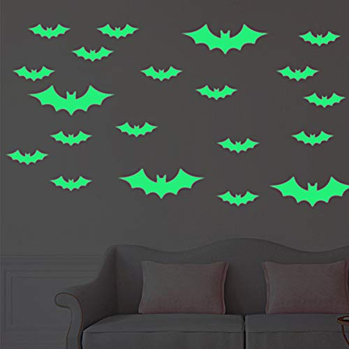 Luminous Bats Sticker, Sarissa Bats Halloween Decoration Glow in The Dark Removable Home Wall Decal Moon&Bats for Halloween Party 13 PCS ()