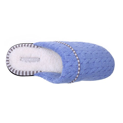 Pantuflas Para Mujer William & Kate Mujeres Soft Cotton Cosy Warm House Slipper Blue