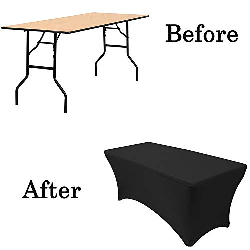 (Rectangular Spandex Table Cover Stretch Tablecloth Polyester Table Covers (Black, 8ft))