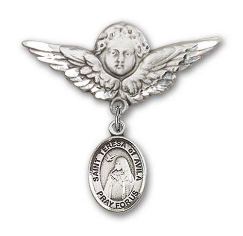 Icecarats Créatrice De Bijoux En Argent Sterling St. Thérèse D'Avila Broches Badge Charme D'Ange 1 1/8 X 1 1/8