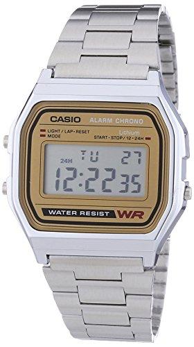 Casio Collection A158WEA-1EF, Reloj Digital Unisex, Acero Inoxidable, Plateado