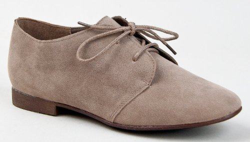 Breckelle's SANDY-31 Basic Classic Lace Up Flat Oxford Shoe,6.5 B(M) US,Taupe-31,6.5 B(M) US