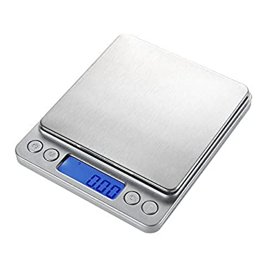 WAOAW 500g/0.01g Digital Pocket Stainless Jewelry & Kitchen food Scale, Lab Weight, 0.001oz Resolution