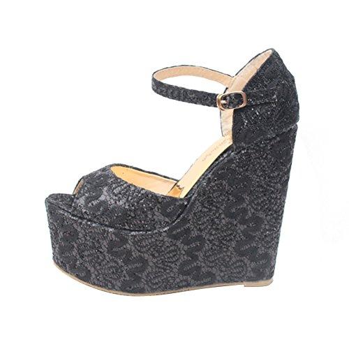 Femmes Rétro Clouté Dentelle Peep Toe Plate-forme Wedges Sandale Chaussures De Mariage Noir