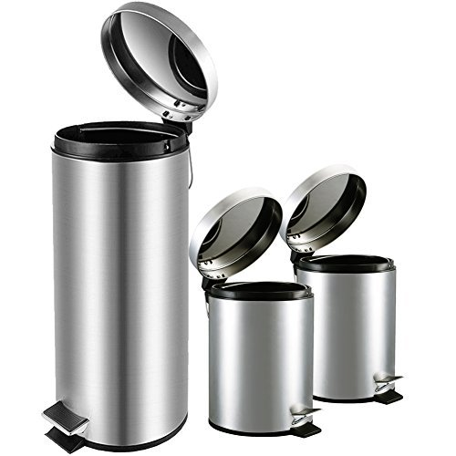 30l Pedal Bin (Round Step Stainless Steel Trash Can with Lid for Kitchen Bathroom Office,Garbage Can with Anti-Fingerprint / Step Foot Pedal / Quiet Closure Lid / Inner Waste Basket, 8 & 1.3 Gallon)