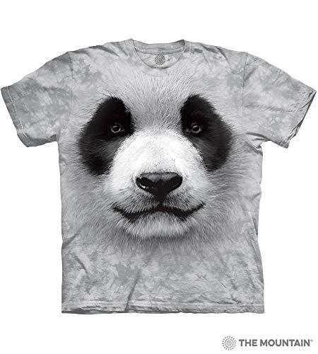 (The Mountain Big Face Panda Adult T-Shirt, Grey, Medium)