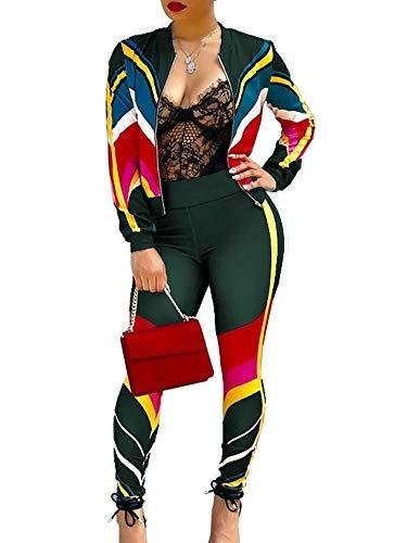 Women Long Sleeve Striped Colorblock Long Pants Tracksuits Workout Sweatsuits 2 Piece Jumpsuit Green S