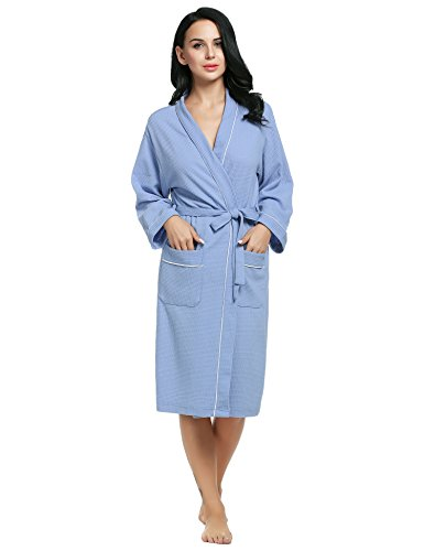 Ekouaer Nightwear Womens Comfortable Wedding Party Robe Soft Bathrobes (Blue, Small) - Jersey Knit Bath Robe