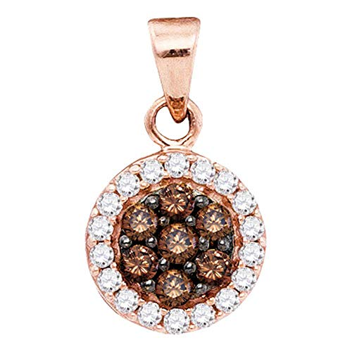 Jewel Tie Solid 10k Rose Gold Round Chocolate Brown Diamond Flower Cluster Pendant (3/8 Cttw.)