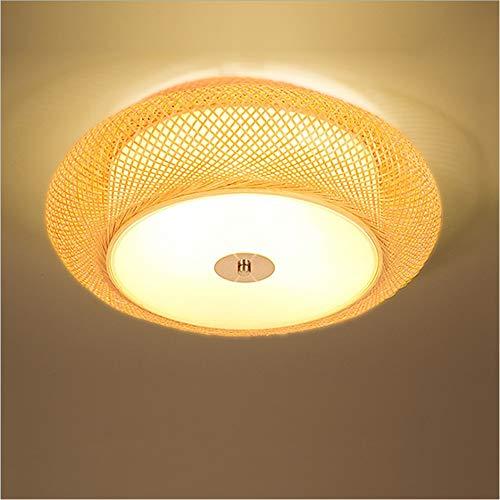 Shfmx Lantern Ceiling Light Balcony, Bamboo lamp Shade, Bedroom Living Room Ceiling lamp Restaurant Bamboo lamp Corridor Hand-Woven Ceiling lamp,50cm