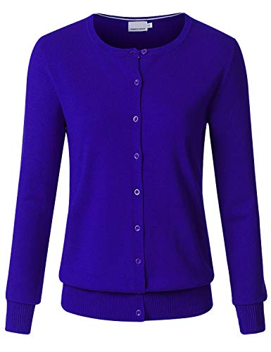 JSCEND Women's Long Sleeve Button Down Crew Neck Soft Knit Cardigan Sweater RoyalBlue L
