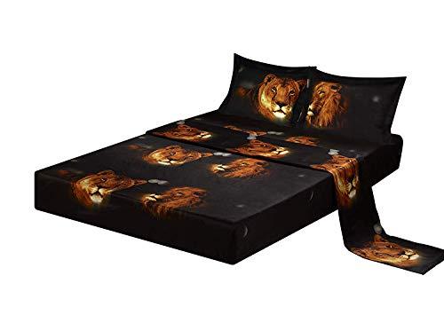 HUAJIE 4 Piece Set Luxury 3D Print Vivid Animals Pattern Deep Pocket Bed Sheet Set (1 Flat Sheet,1 Fitted Sheet,2 Pillow Case/Pillow Sham)(Queen, Lion ()