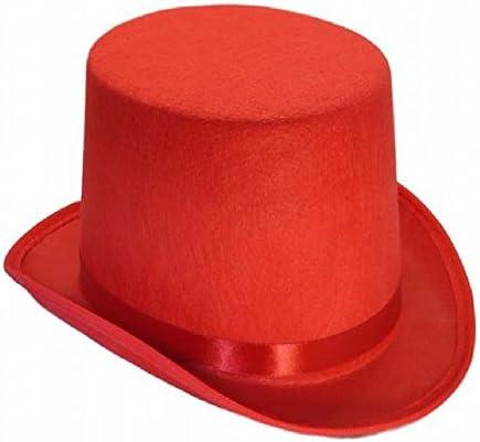 M3 シルク ハット 高 帽子 紳士 マジック コスプレ (レッド 赤)