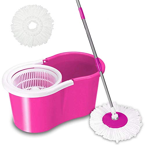 Space Paths Spin Mop Bucket System - Microfiber Spinning Mop W/Bucket,Adjustable Extended Length Handle,2 Microfiber Mop Heads 360° Rotation Easy Floor Cleaning System (Pink) ()