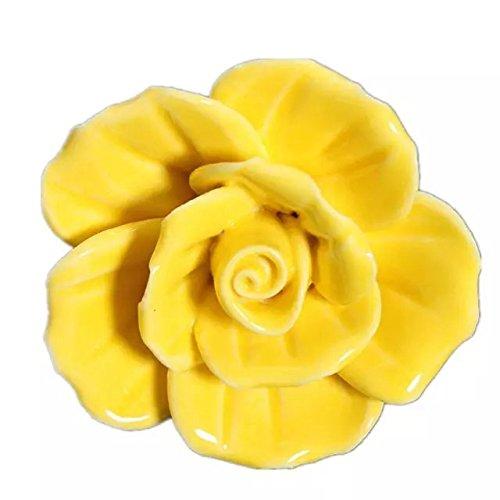 Cskb Yellow 5 Pcs 40mm Round Rose Ceramic Door Knob Follow