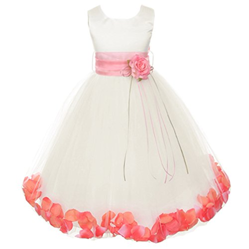 Little Girls Ivory Sleeveless Satin Bodice Floating Flower Petals Girl Dress with Matching Organza Sash and Double Tulle Skirt - Coral Set - Size 4 ()