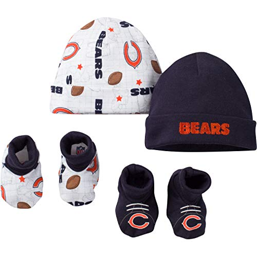 NFL Chicago Bears Unisex-Baby 4-Piece Cap & Bootie Set, Blue, 0-6 Months