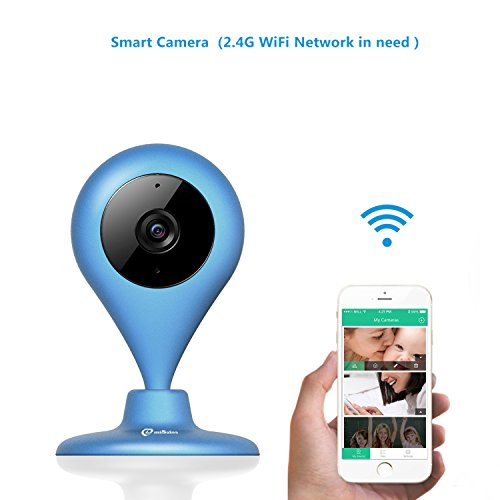 Wireless Security Camera, MiSafes WiFi Baby Pet Video Monitors 1280x720p HD Remote Home Surveillance Indoor IP Cameras with 2 Way Audio Talk for iPhone iPad Android Samsung Sony LG (Blue)