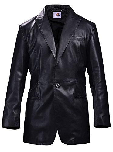 ST Classic Black Leather Blazer Mens Coat 1-Button Single Breasted Stylish Faux Leather Slim Fit Big Tall Boys Kids -
