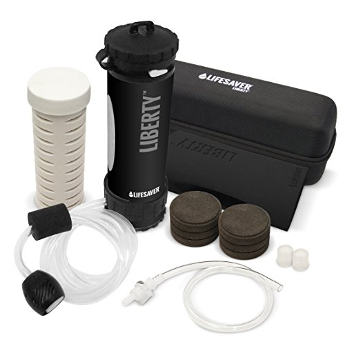 LIFESAVER Water Filtration Filter Bottle Purifier kit for Camping Emergency prep Backpacking Hiking Outdoor System Travel Virus Bacteria & Cyst Removal ICON Systems Advanced Pack Black