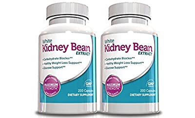 Pure White Kidney Bean Extract for Weight Loss-1000mg Per Serving, 200 Capsules, 90 Day Supply, (Pack of 2), Carb Blocker Supplement