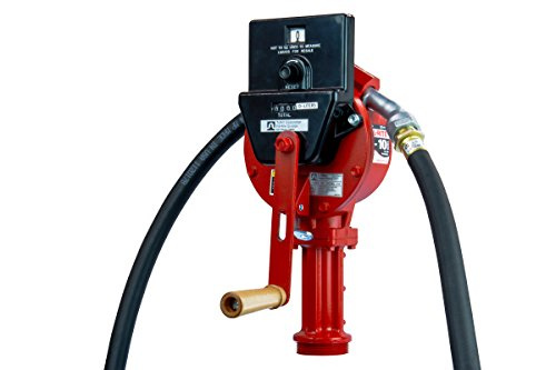 Fill-Rite FR112CL Rotary Hand Pump with Discharge Hose, Nozzle Spout, Suction Pipe, and Liter Counter